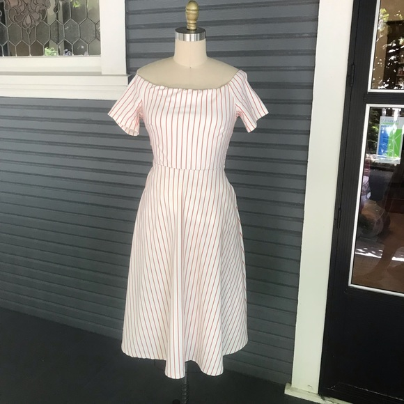 Ina Dresses & Skirts - Red striped off the shoulder dress!
